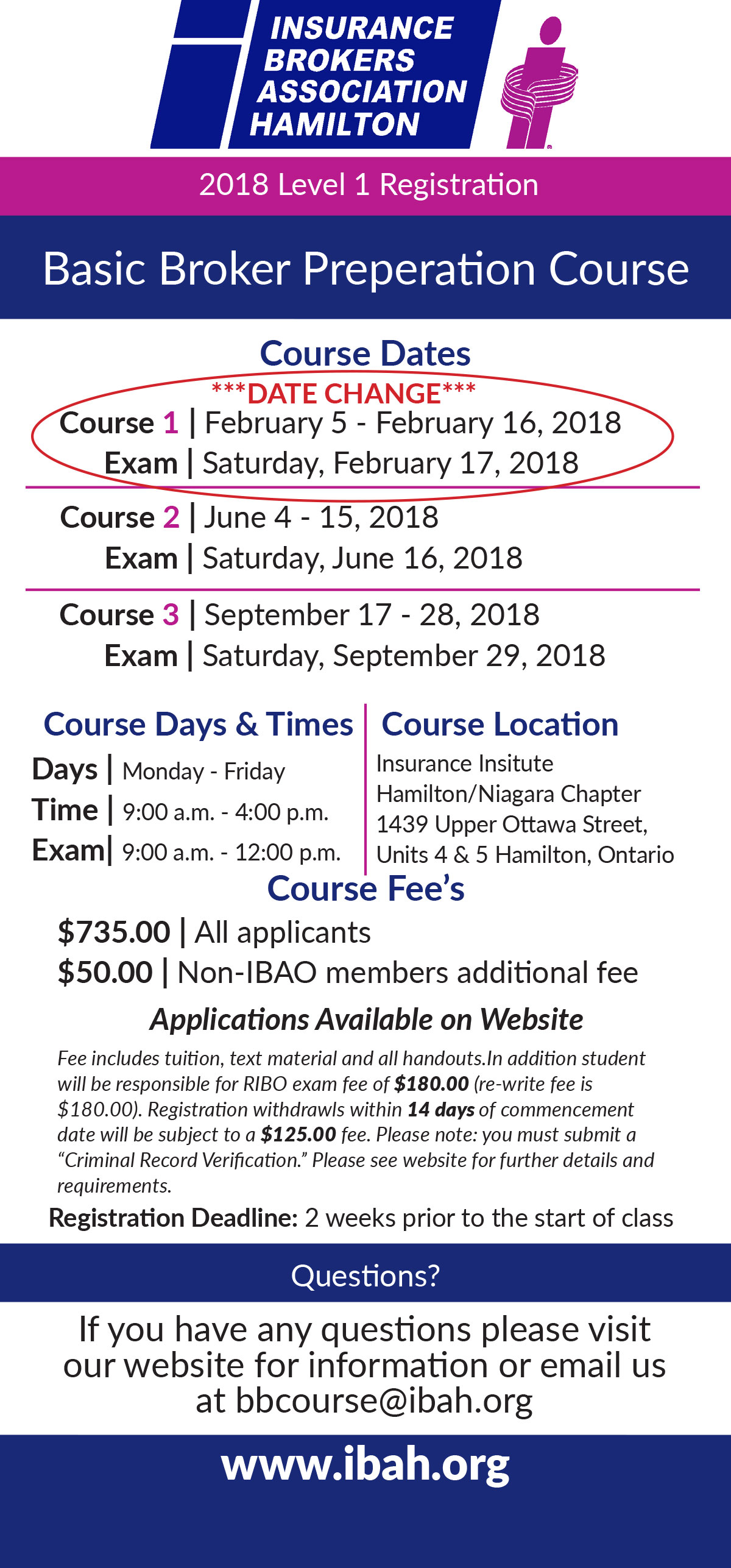 2018 RIBO Level 1 Licensing Course, Insurance Brokers Association of Hamilton